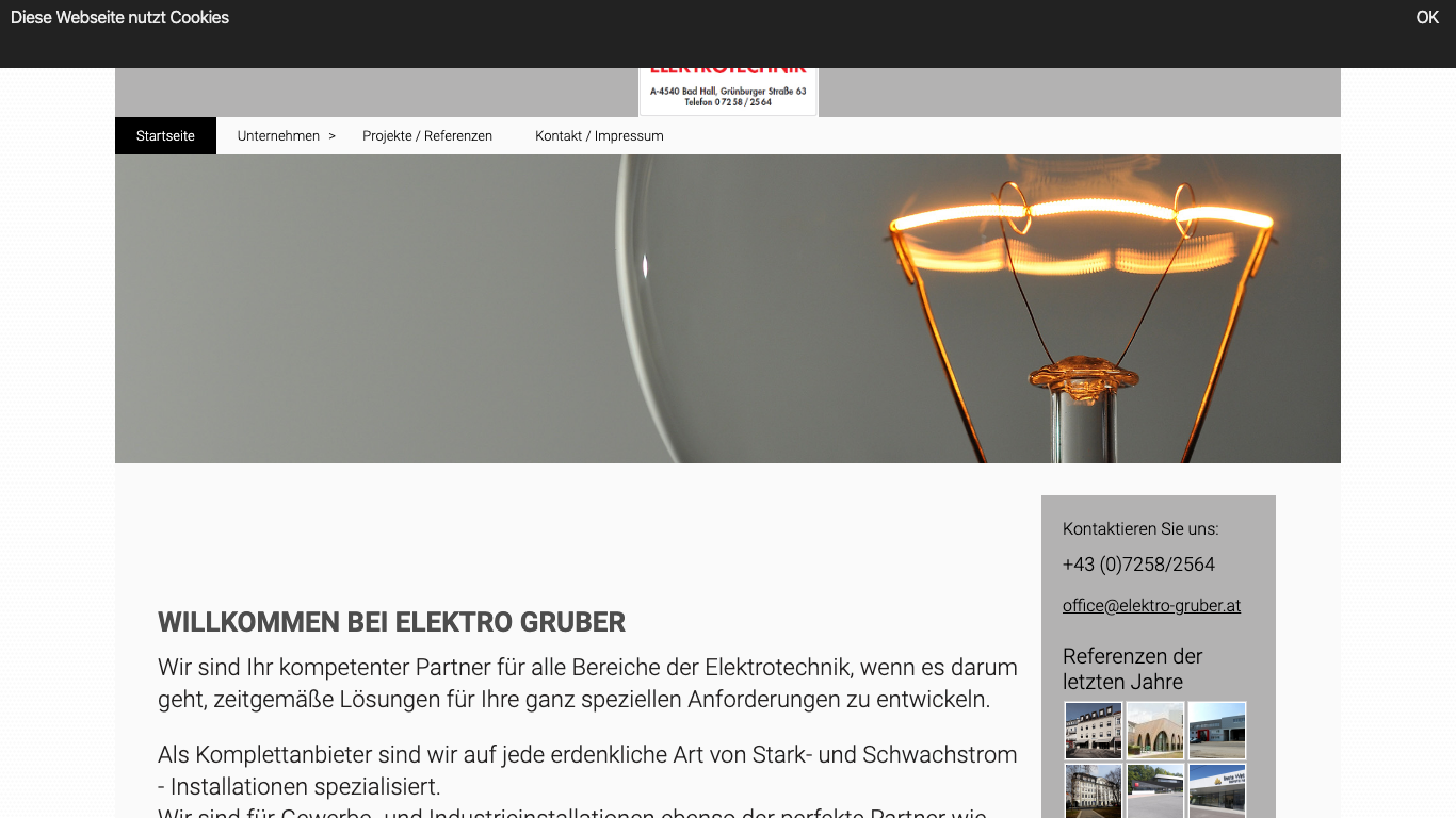 Franz Gruber GmbH Screenshot of the company website