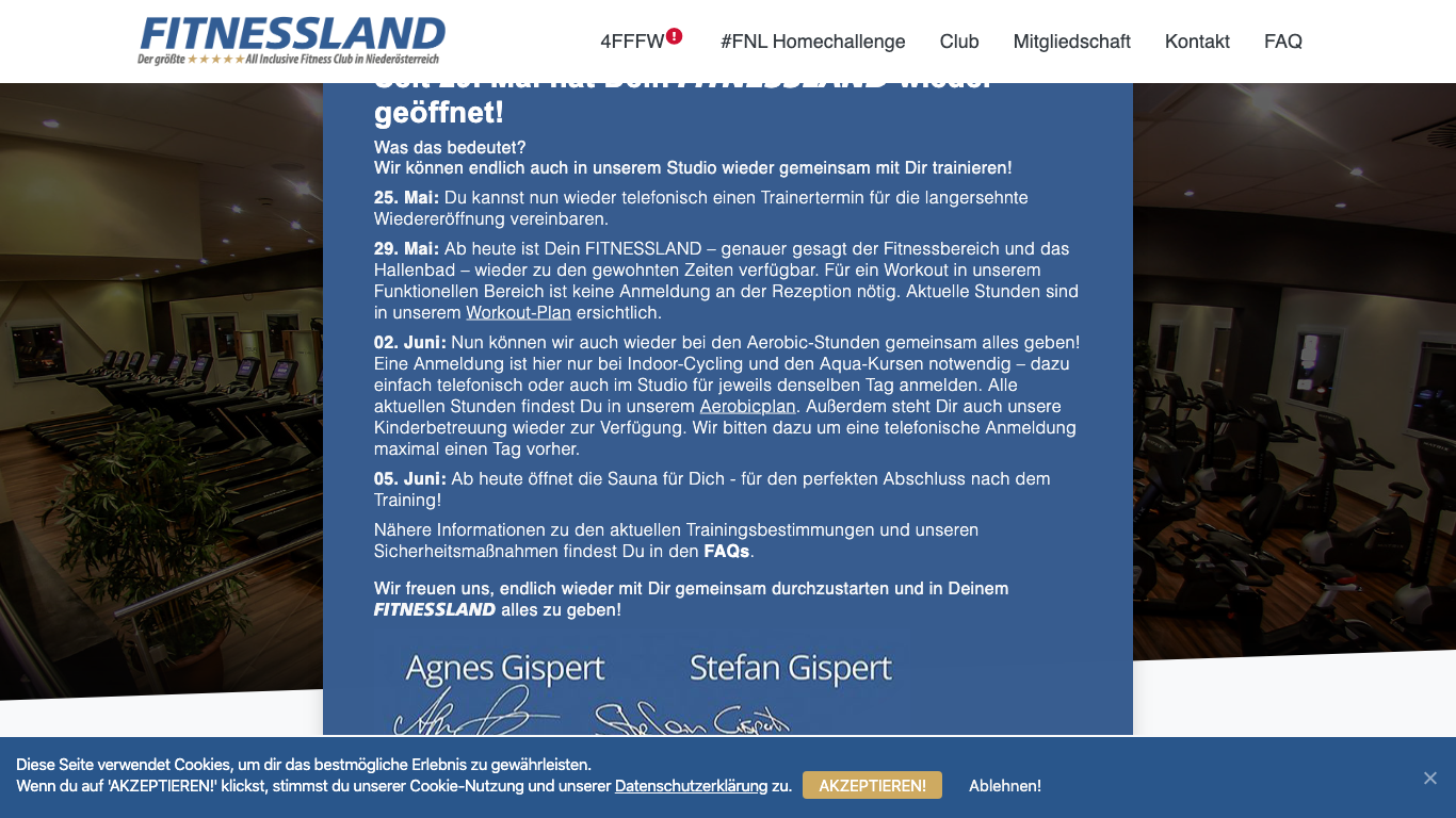 Fitnessland Betriebsges.mbH Screenshot of the company website