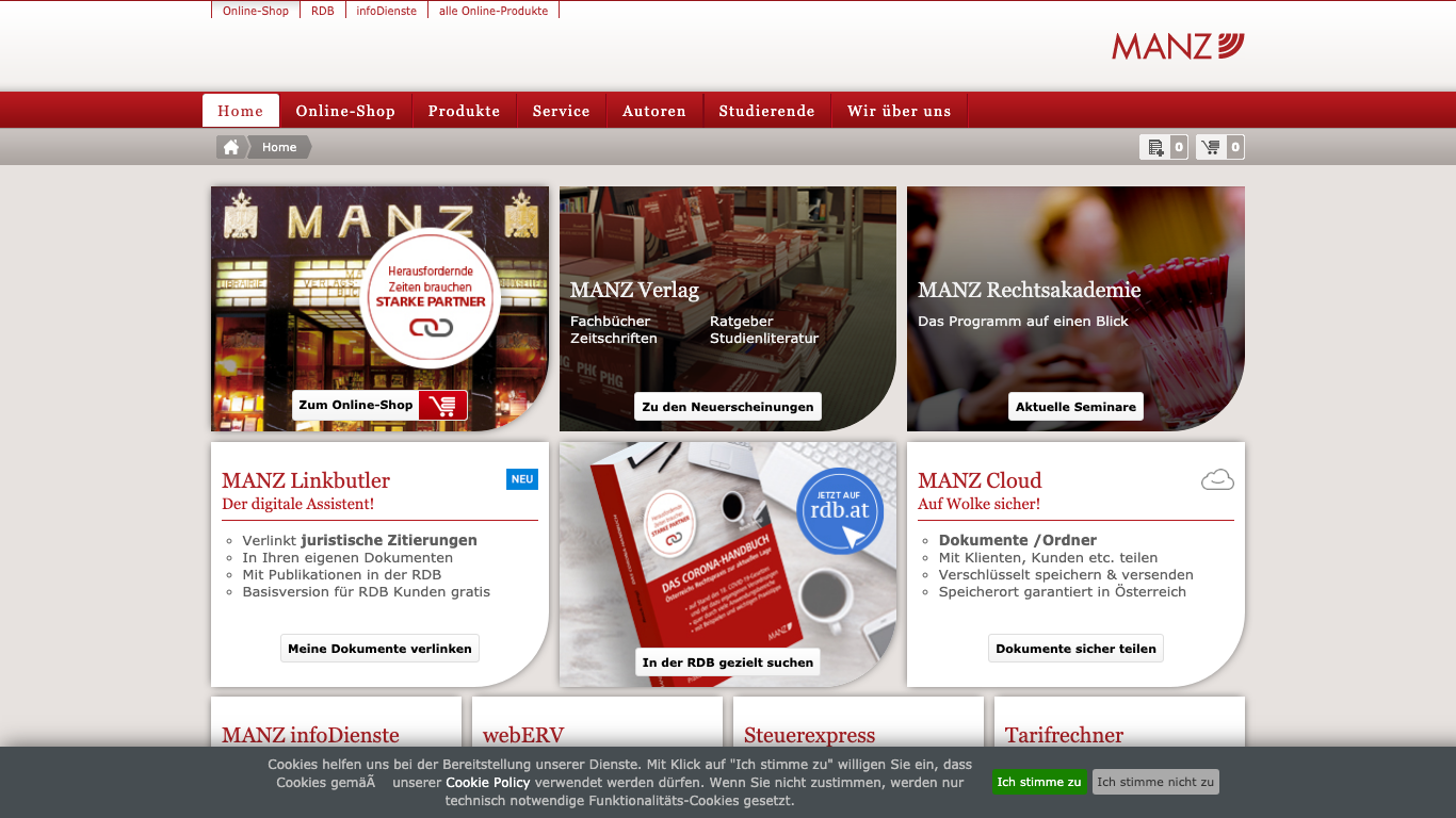 MANZ'sche Verlags- und Universitätsbuchhandlung GmbH Screenshot of the company website