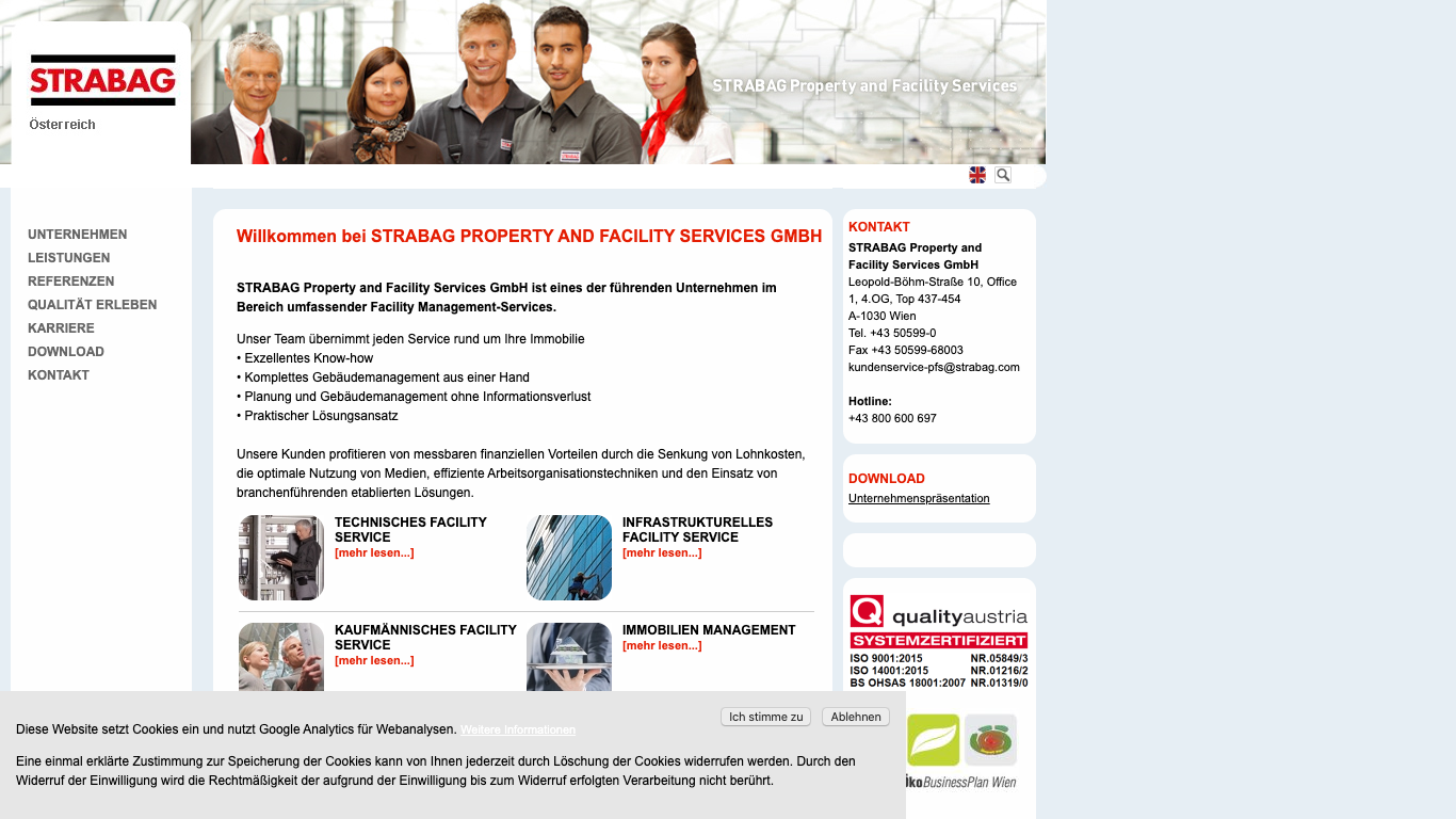STRABAG Property and Facility Services GmbH Screenshot of the company website