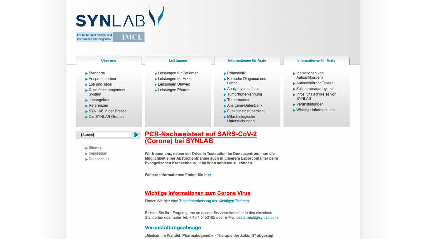 synlab Logistic Austria GmbH Screenshot of the company website
